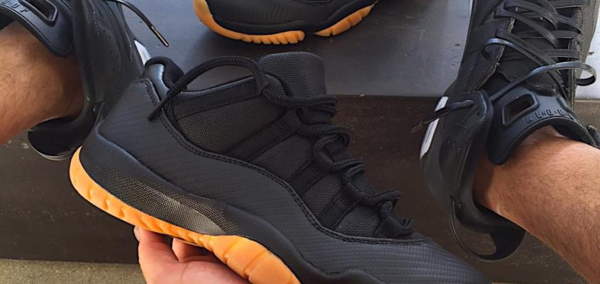 Navy 11s flipped to Black Carbon Fiber Gum Bottoms – Goes Viral!!!