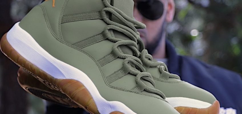 973b17c55db Custom Jordan 11 in Matte Olive Green   Gum Bottom Soles!